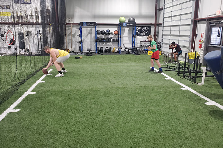 Offensive Line Football Training by Kansas City Athlete Training for both youth and high school athletes with group classes and private training along with camps and speed and agility classes for all sports and athletics in Kansas City Missouri