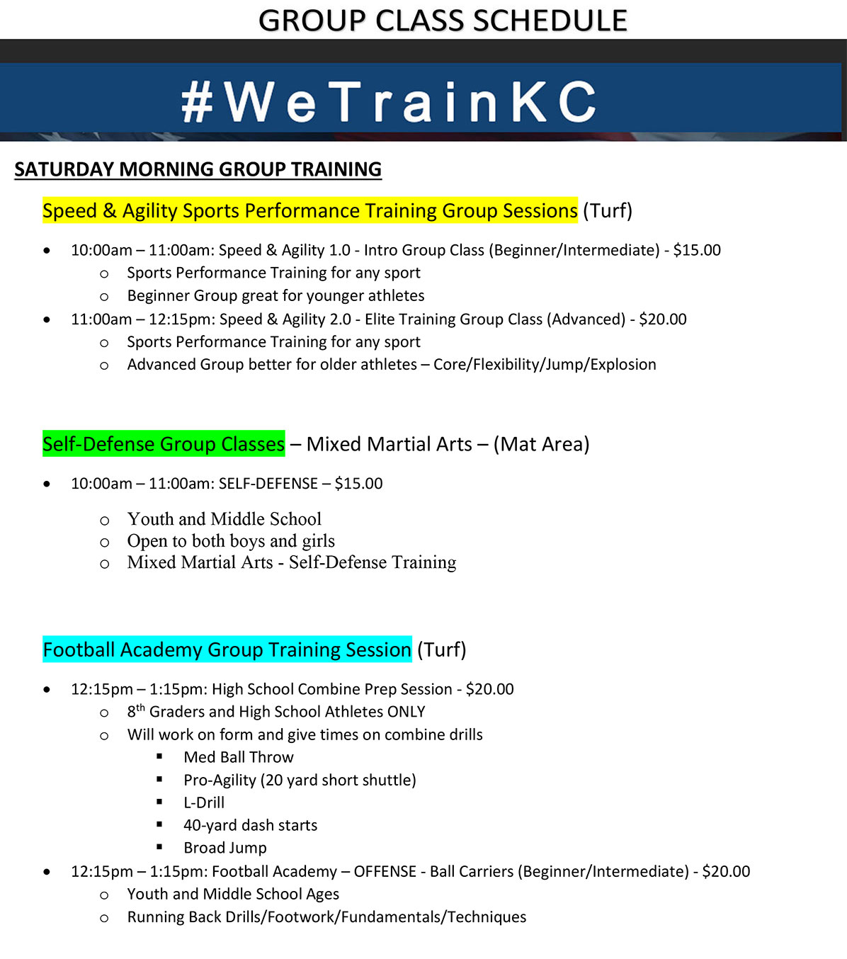 Saturday Group Class Training Schedule at Kansas City Athlete Training in Kansas City Missouri offering Sports Performance Training for girls and boys youth, middle school and high school