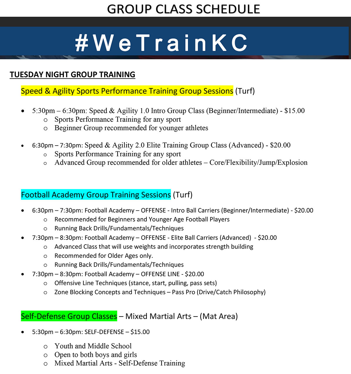 Tuesday Night Group Class Training Schedule at Kansas City Athlete Training in Kansas City Missouri offering Sports Performance Training for girls and boys youth, middle school and high school