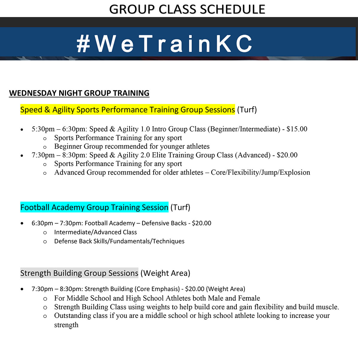 Wednesday Night Group Class Training Schedule at Kansas City Athlete Training in Kansas City Missouri offering Sports Performance Training for girls and boys youth, middle school and high school